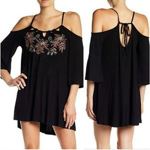 Monoreno Black Boho Dress Tunic Cold Shoulder